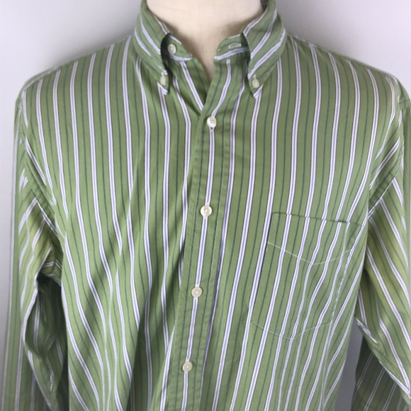 3c6bf8c932 J. Crew Shirts | J Crew Mens Ls Button Up Green White Striped L ...